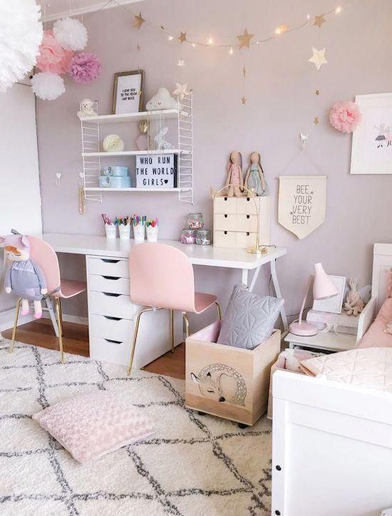amenajare camera fete roz