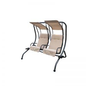 balansoar gradina modern 2 locuri bej metal perne polister mobilier gradina
