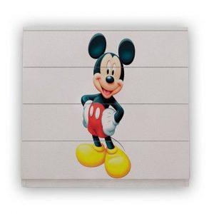 comoda pentru camera copii 4 sertare mickey mouse pal alb