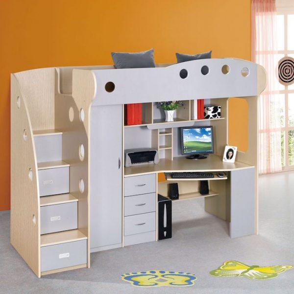 dormitor copii multifunctional gri pat copii birou copii mobilier copii ieftin