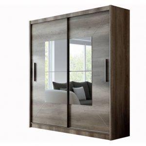 dulap mare cu usi glisante maro cu oglinda 203x215x61 cm