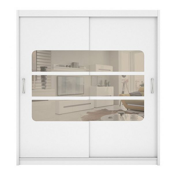 dulap mare modern alb usi glisante cu oglinda mobilier dormitor
