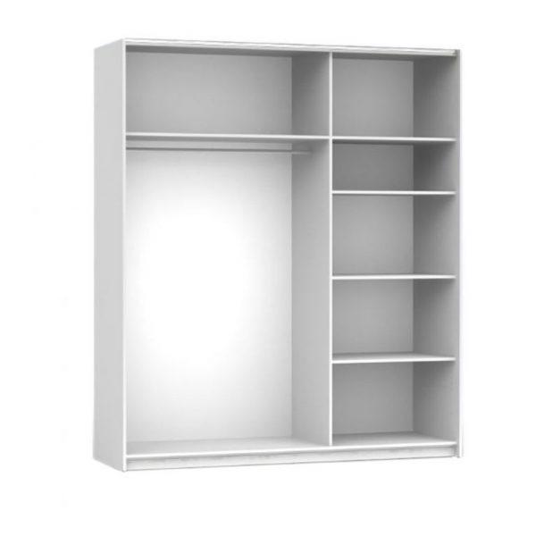 dulap mare modern alb usi glisante cu oglinda mobilier dormitor interior