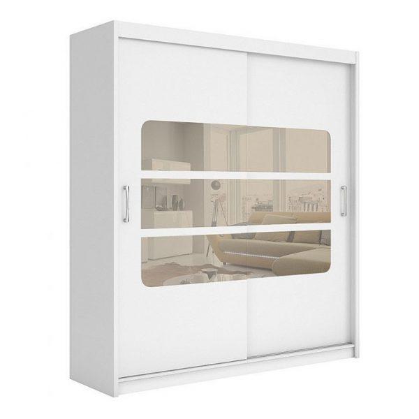 dulap mare modern alb usi glisante cu oglinda mobilier dormitor modern