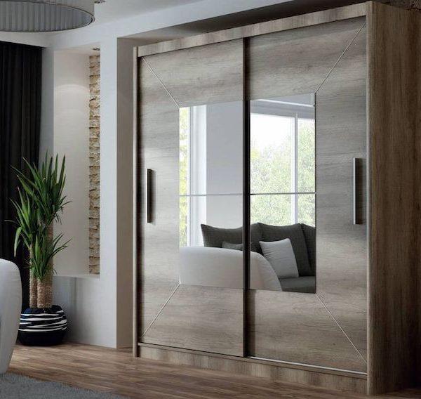dulap mare modern cu usi glisante maro cu oglinda 203x215x61 cm