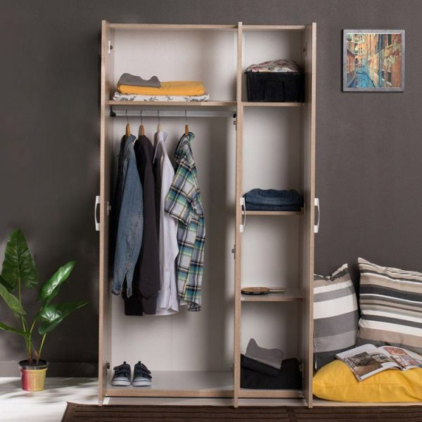 dulap modern cu 3 usi maro 95x172x47cm mobilier living