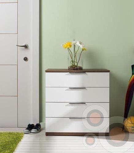 dulap pentru incaltaminte sifonier cu 4 sertare modern alb cu maro