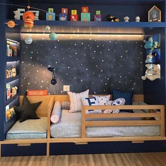 idei de amenajare camera baieti perete cu spatiu galaxie