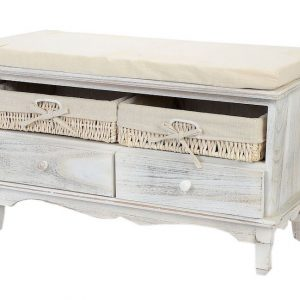 lada cu perna pentru sezut cu 2 sertare 2 cutii depozitare lemn alb