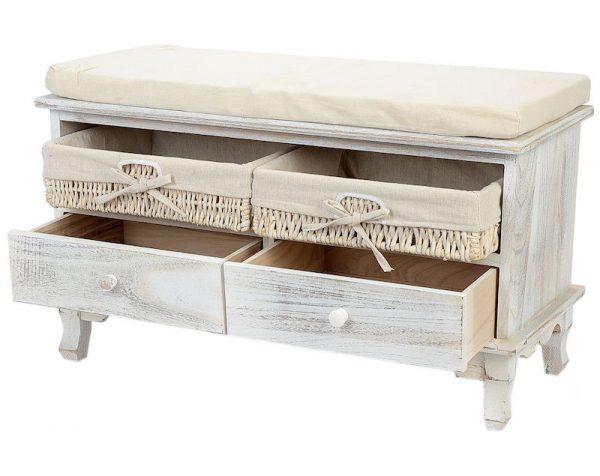 lada cu perna pentru sezut cu 2 sertare 2 cutii depozitare lemn alb ieftin