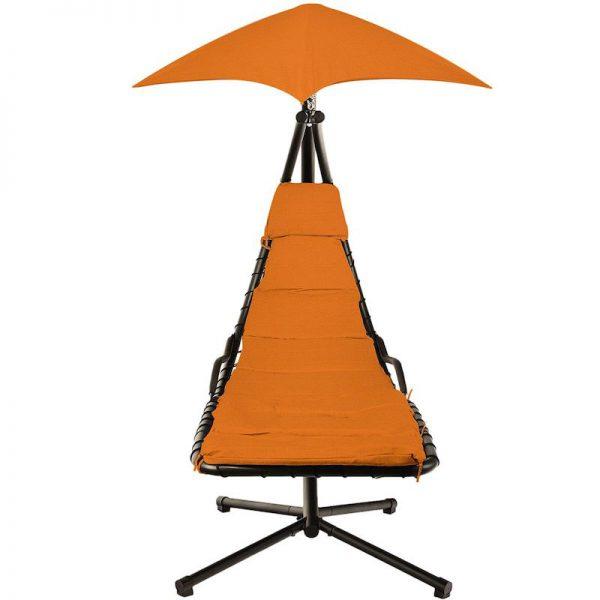 leagan balansoar negru orange cu umbrela rezistent la ploaie 190 x 100 x 220 cm