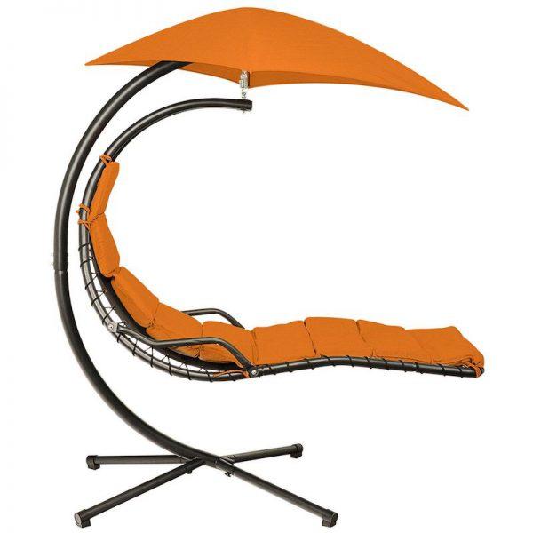 leagan balansoar negru orange cu umbrela rezistent la ploaie 190 x 100 x 220 cm mobila gradina