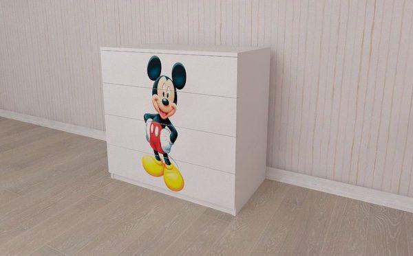 mobilier camera copii comoda alba 4 sertare mickey mouse