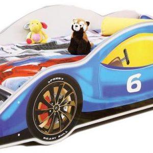 pat in forma de masina pentru copii baieti albastru mobilier camera copii