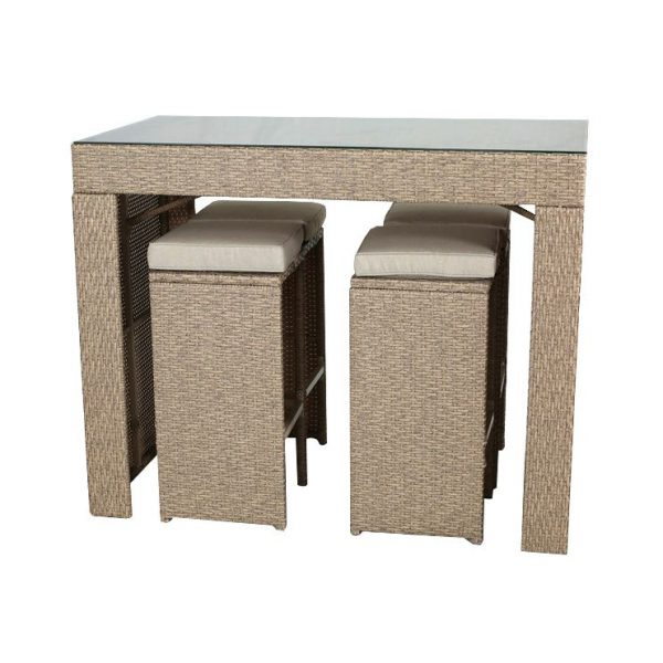 set mobilier gradina bar 4 scaune ratan bej mobila gradina