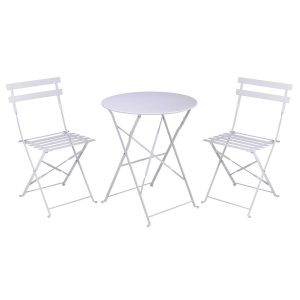 set mobilier gradina bistro alb metal 2 scaune si masa