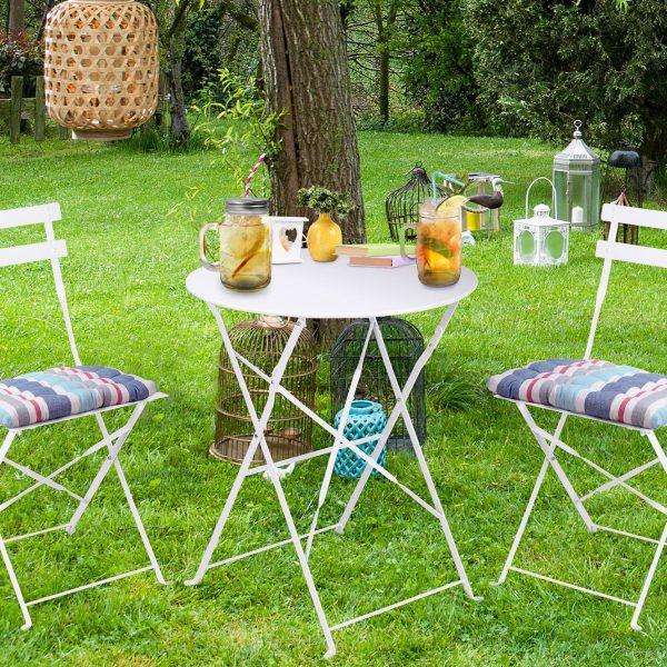 set mobilier gradina bistro alb metal 2 scaune si masa mobila gradina