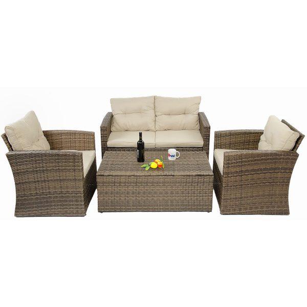 set mobilier gradina maro ratan canapea masuta fotolii perne lada