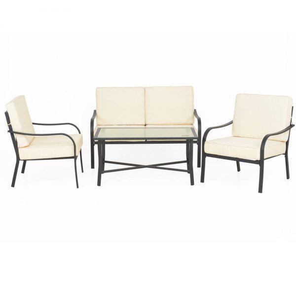 set mobilier gradina metal canapea fotolii masa perne modern