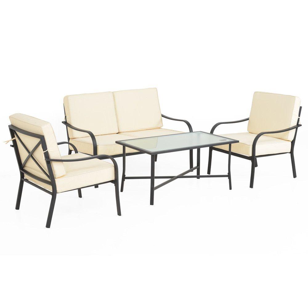 mobila gradina 2 fotolii canapea masuta perne albe. Black Bedroom Furniture Sets. Home Design Ideas