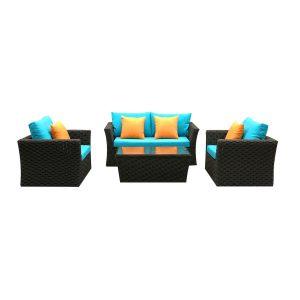 set mobilier gradina negru ratan canapea masuta fotolii perne albastre