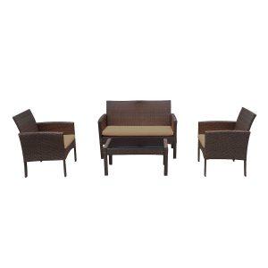 set mobilier gradina terasa mobila gradina ratan banca fotolii masa maro modern