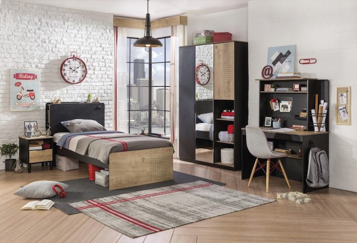 set_mobila_dormitor_din_pal_pentru_tineret_5_piese