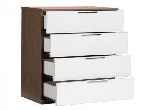 sifonier cu 4 sertare modern alb cu maro