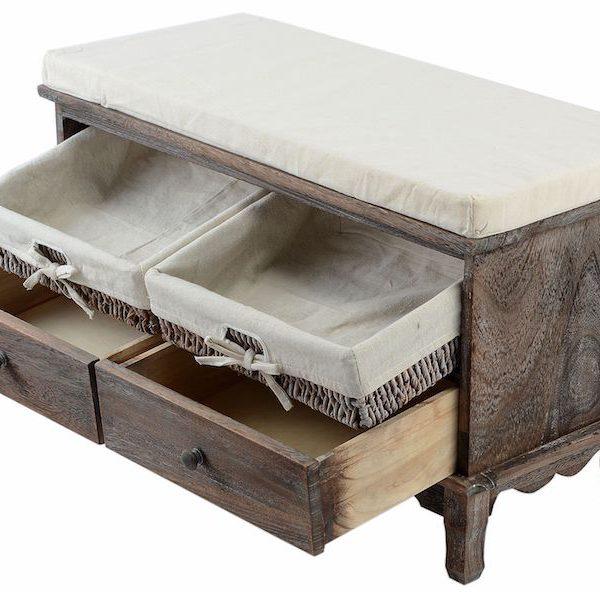 sifonier lada cu perna pentru sezut 4 sertare lemn nuc mobilier ieftin