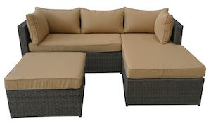 Set mobilier pentru gradina piese si taburet Ottoman, maro si perne maro