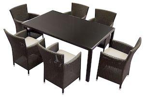 Set mobilier gradina Kring Thomas, masa, 6 scaune, Maro