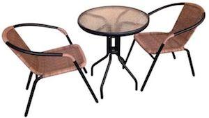 mobilier gradina scaun si masuta rotunda din sticla