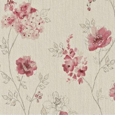 Tapet cu flori rosii pe fundal bej