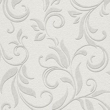 Tapet model arabesc in nuante de gri si alb