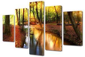 Tablou 5 Piese Peisaje Parau, Multicanvas, 80 x 150 cm