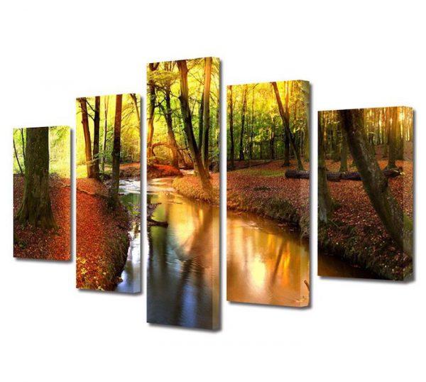 Tablou Multicanvas 5 Piese Peisaje Parau 80 x 150 cm
