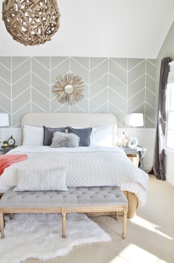 amenajare dormitor cu tapet