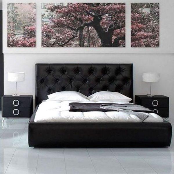 amenajare dormitor pat negru piele 140x200 ieftin pat dormitor modern
