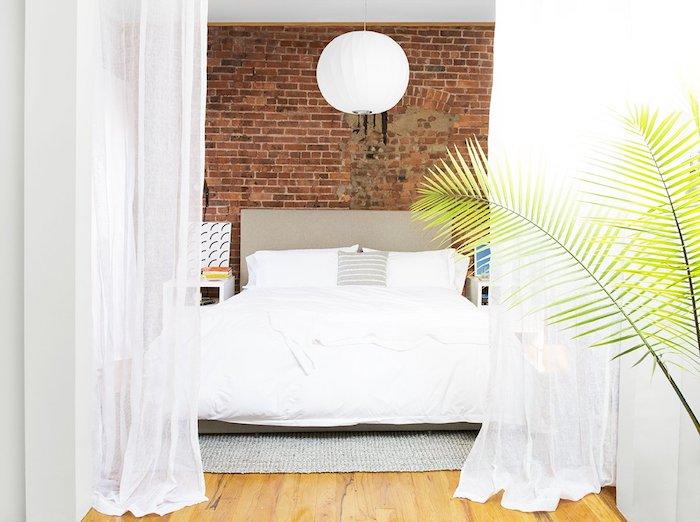 amenajare tapet in dormitor tip caramida dormitor modern cu tapet
