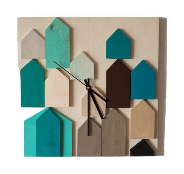 ceas decorativ de perete din lemn vopsit acrilic modern