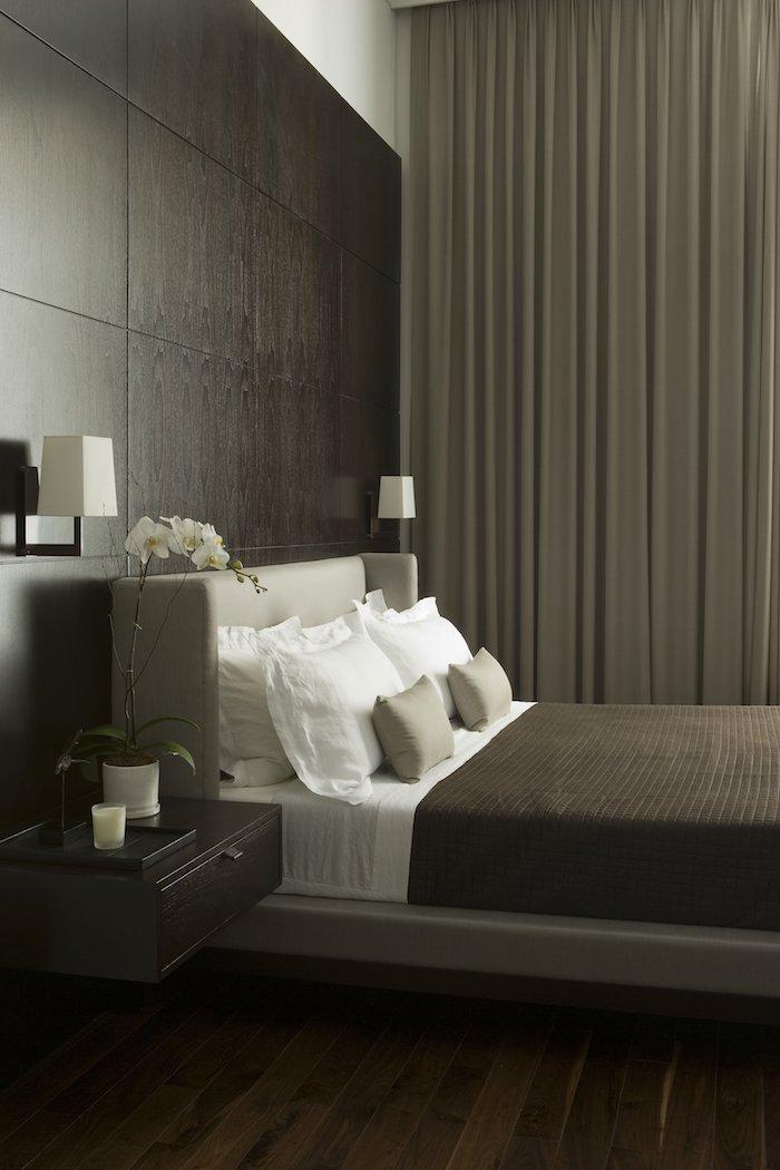 dormitoare amenajari dormitoare simple negru piele pat