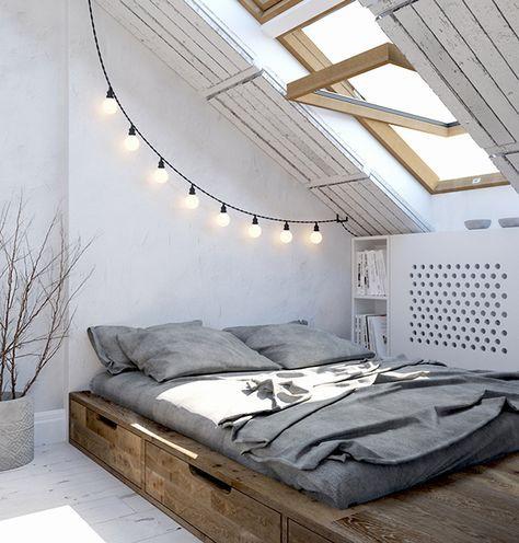 idei amenajare mansarda dormitor