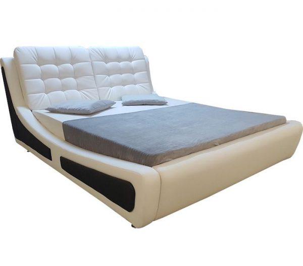 pat alb din piele cu lada rabatabil 160x200 modern ieftin