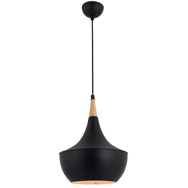 pendul modern negru din metal cu elemente din lemn lustra ieftina