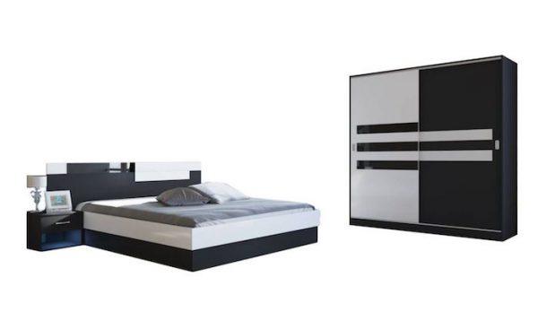 set dormitor modern alb negru ieftin