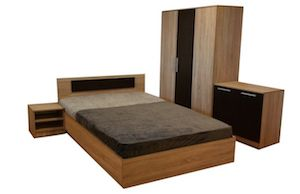 Set Dormitor Modern, 5 Piese, Maro si Negru