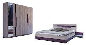 Set Dormitor Modern, Stejar Sonoma, Mov, 4 Piese
