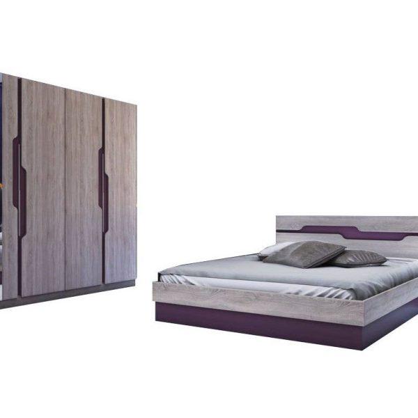 set dormitor modern pat dulap stejar