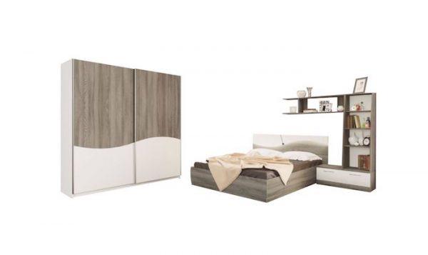 set mobilier dormitor alb braun ieftin