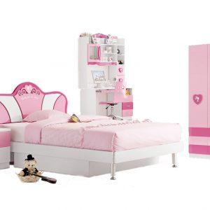 set mobilier dormitor copii tineret ieftin roz fete